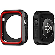 LEEHUR Apple Watch Case, TPU Armor Protective Shock-proof Shock-resistant Bumper All-round Cover Rugged Case for 42mm Apple Watch Nike+, Series 1, 2,3 Sport, Edition- Black/Red