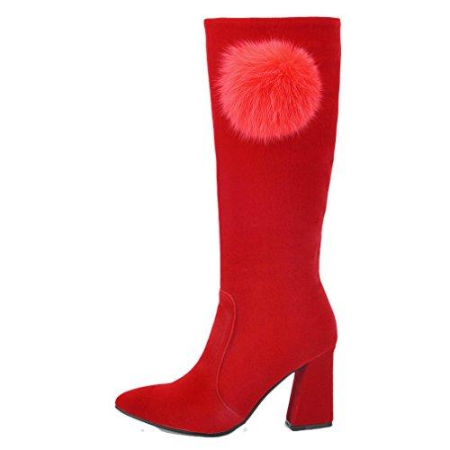 ENMAYER Women Red Scrub Block Heel High Heel Knee High Winter Boots 5.5 B (M) US 17RkG