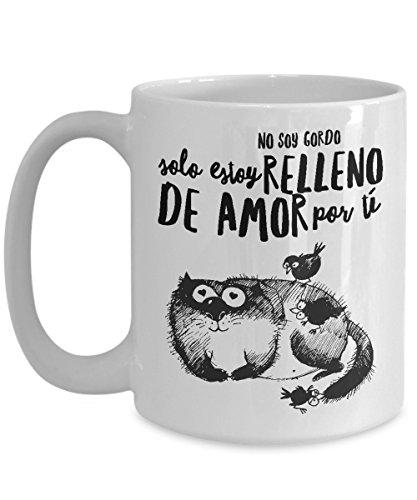 Amazon.com: Taza de Cafe Chistosa Gato Gordo Lleno de amor para Su Esposa , Novia: Kitchen & Dining