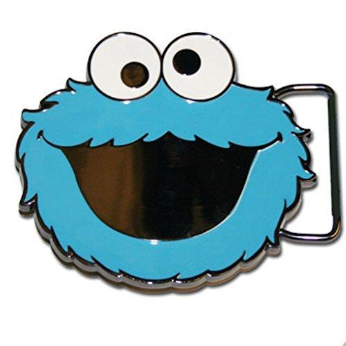 (Sesame Street Cookie Monster Blue Enamel Metal Belt Buckle Costume Accessory)