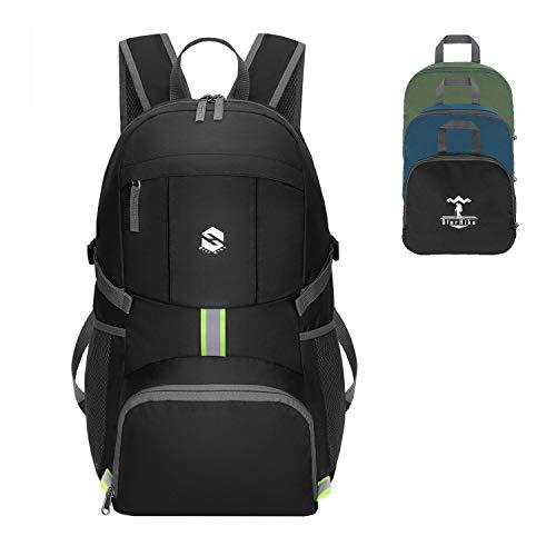 OlarHike Lightweight Travel Backpack, 35L Water Resistant Packable Traveling/Hiking Backpack Daypack for Men & Women, Multipurpose Use, Black