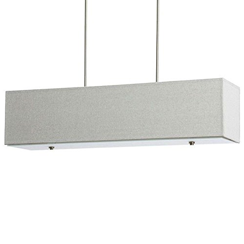 Rectangular Nickel Chandelier (Rectangular Chandelier Centerpiece Suitable for Spacious Rooms. Linear Pendant Lamp Provides Ample Multidirectional Lighting. Grey Long Island Light Fixture Creates Modern Contemporary Atmosphere.)