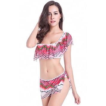 Las mujeres bañador elástico alto nuevo bikini falda impresión ...
