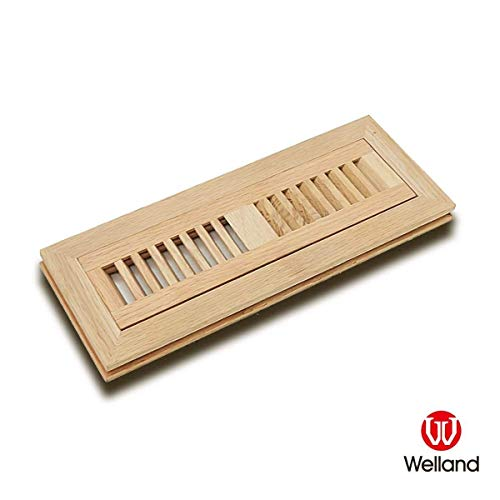WELLAND Hardwood Flush Mount Floor Register Vent Unfinished,2 inch x 12 inch,White Oak