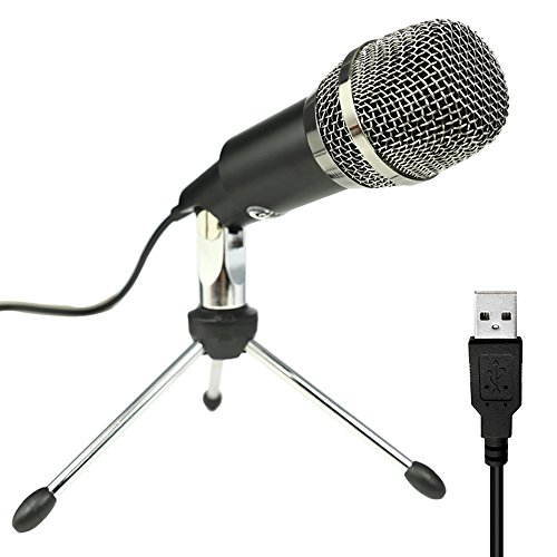 Professional USB Microphone, PC Condenser Microphone for Podcast, Skype, Computer Microphone With Stand Great for YouTube, Google Voice Search, Games(Windows/Mac) PLUG AND PLAY- M669B