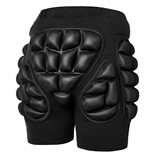 Soared 3D Protection Hip Butt EVA Paded Short Pants Protective Gear Guard Impact Pad Ski Ice Skating Snowboard Black 2.5cm EVA Thicken Padding