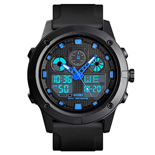 - Men's Analog Digital Sport Watch Dual Time Big Face Classic Outdoor Low Price Wristwatch (Blue)