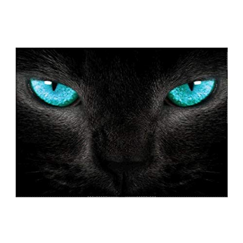 myonly DIY 5D Diamond Painting Diamond Rhinestone Black Cat Head with Blue Eyes Painting Pattern Pattern Oil Painting Cross Stitch Crystal Embroidery Art Craft Decor Home Wall Decoration Painting (Black Cat Cross Stitch)
