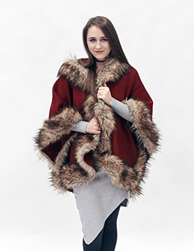 Elegant red and brown half-woolen cloak with high quality faux fur by ScarecrowStudio