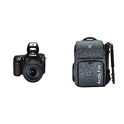 """Canon EOS 90D Digital SLR Camera with 18-135 is USM Lens with 16GB Card + Arctic Fox Camera Bag with Lens, 15.5"""" Laptop & Tripod Holder 1"""
