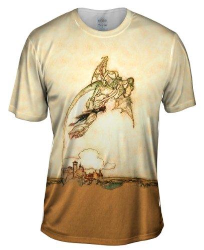 Yizzam- Arthur Rackham - Grimms Fairy Tales Dragon .-TShirt- Mens Shirt 1987-Medium