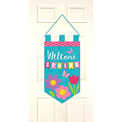 "Amazon.com: Fieltro de ""Welcome Primavera Puerta Banner ..."
