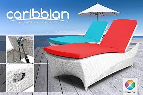 Miweba Rattan Sonnenliege Carribian Elegance (Rattan: Weiß - Polster: Rot)