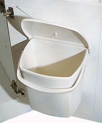 kitchen door pull cord waste bin 12 litres cream white