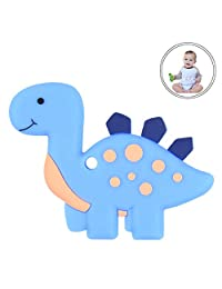 Dinosaur Baby Teether BPA Free Silicone Teething Toy for Newborn Baby Infant(Blue)