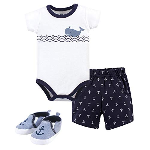 Hudson Baby Unisex Baby Bodysuit, Bottoms and Shoes, Whale and Anchor 3-Piece Set, 12-18 Months (18M) ()
