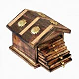 IndiaBigShop Natural Wooden Coasters with Hut Shape Mango Wood Coasters for your Drinks, Beverages & Wine/ Bar Glasses (Coasters Set of 6)
