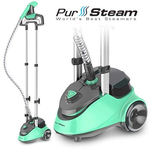(PurSteam Full Size Garment Fabric Steamer Professional Heavy Duty Industry Leading 2.5 Liter (85 fl.oz.) Water Tank Producing Over 60min of Continuous Steam with 4 Level Steam Adjustment )