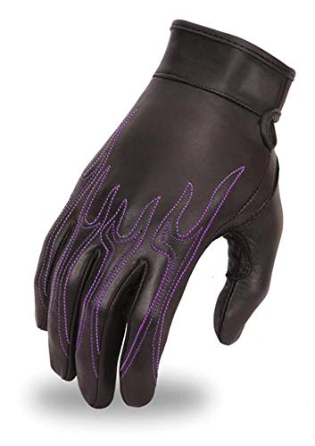 First Mfg Co Womens 2 Tone Roper Leather Motorcycle Touch Tech Finger Gloves Sliver X-Small