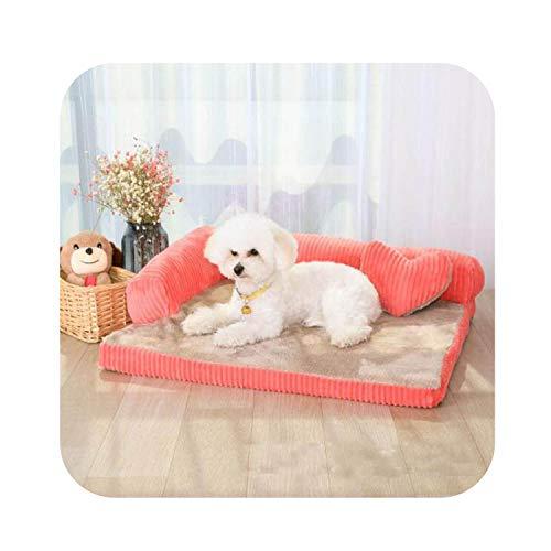Removable Soft Pet Dog Sleeper Sofa Bed Winter Warm Tower Rest House Lounger Pets Mat Nest Large XL Dogs Mattress S/M/L/XL,Pink,90X70X15Cm