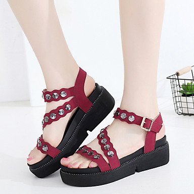 EU36 Gladiator RTRY 3 Leather UK3 5 Ruby 1 US5 Green Grain Sandals Heel 5 Rhinestone CN35 1In Summer Women'S Wedge 4In Black Gladiator Full Casual rwqrE1A