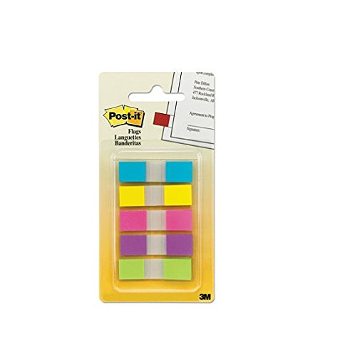 Post-it Flags with On-the-Go Dispenser, Assorted Bright Colors, 1/2-Inch Wide, 100/Dispenser, 1-Dispenser/Pack, 6-PACK
