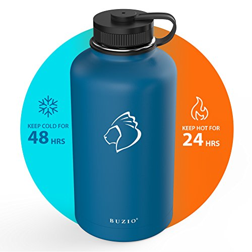 BUZIO Stainless Steel Water Bottle (Cold 48 Hrs, Hot 24 Hrs), 64 oz Vacuum Insulated Water Bottle Straw Lid Flex Cap (Double Wall, Wide Mouth, BPA Free, Leak Proof, Sweat Free) by BUZIO (Image #2)