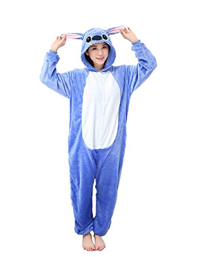 [Yimidear Unisex Adult Pajamas Cosplay Costume Animal Onesie Sleepwear Nightwear (M, Blue Stitch)] (Stitch Costumes Adults)