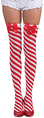 Christmas Thigh High Stockings (Forum Novelties Women's Candy Cane Thigh Highs, Red/White, One)