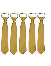 Kids Solid Color Zipper Tie 14 inch Boys Zipper Neckties 5 Pcs