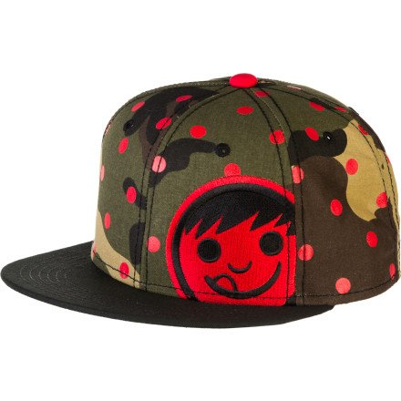 djustable Snapback Cap Hat (One Size, Camo/Red/Black) ()