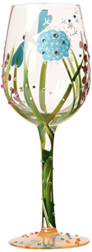 Painted Glass Holiday Art (Lolita Dragonfly Summer Artisan Painted Wine Glass Gift)