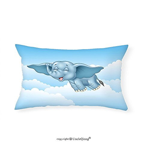 VROSELV Custom pillowcasesAnimal Cute Baby Flying Elephant Clouds Comic Humor Happiness Kids Caricature Illustration for Bedroom Living Room Dorm Light Blue(12''x24'') by VROSELV