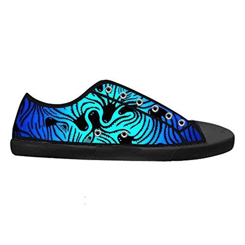 CHEESE Scarpe da Uomo Chiusura con Lacci Classic Flat Canvas Low-Top Nero Sneaker Traspirante Custom Design Polpo Creativo