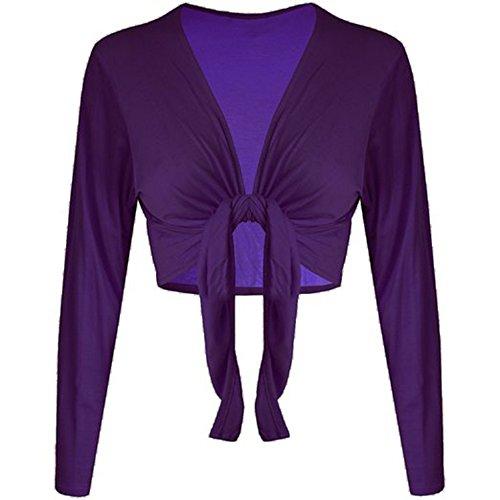 Maniche coprispalle Fashion Top Tie Front Purple Lunghe Nodo Tinta essentials elasticizzato womens Unita Cardigan vIrZ6Iq