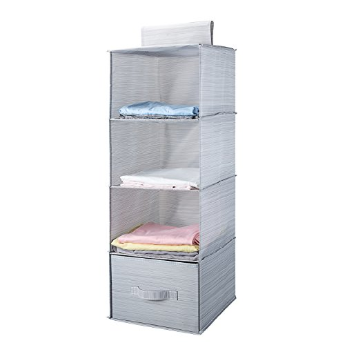 Closet Sweater Organizer (Mee'life Collapsible 4-shelf Hanging Closet Organizer with 1Drawer Thick Cardboard Boards Inside Suit for Clothes Sweaters Shoes Storage Hanging Wardrobe Storage Shelves Shoe Rack (Light Gray))