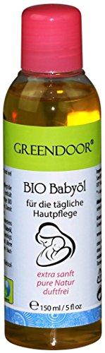 Greendoor BIO Babyöl parfümfrei 150ml, Natur, vegan, BIO Jojobaöl, BIO Sesamöl, BIO Macadamiaöl, Naturkosmetik für zarte Baby-Haut und Kinder-Haut, perfektes Babymassage Öl, Baby Massageöl