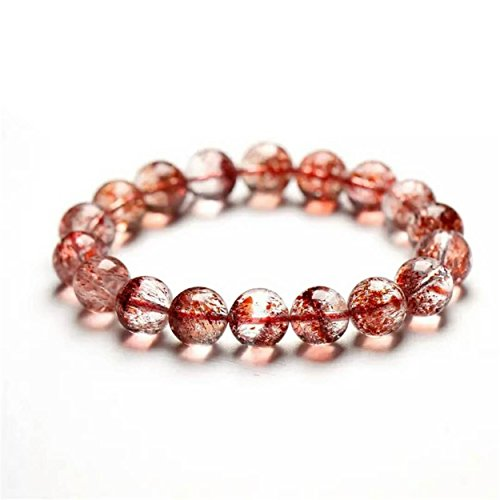 LiZiFang Natural Super 7 Melody Stone Strawberry Quartz Crystal Round Bead Bracelet 12mm