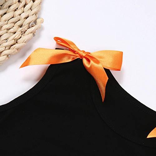 Halloween Skirt Set for Kids Girl, 3PCS Baby Girl Pumpkin Print Asymmetrical Dress+ Tops+ Hat Clothes Set (160, Orange) by Xchenda (Image #3)