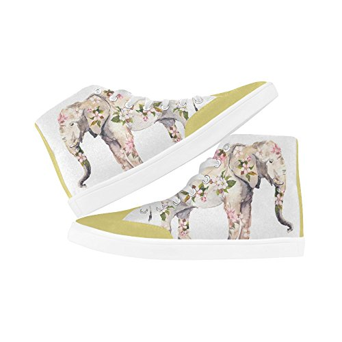 Women For With Top InterestPrint Shoes Flowering Branch Bird Elephant1 Fashion a High v6qz4xp