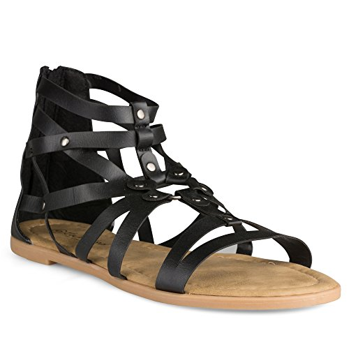 Twisted Women's Daisy Faux Leather Caged Gladiator Ankle Sandal - DAISY619 Black, Size 10 Ladies Daisy