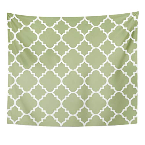 Semtomn Tapestry Artwork Wall Hanging Arabesque Sage Green Quatrefoil Moroccan Modern Contemporary Bold White 50x60 Inches Tapestries Mattress Tablecloth Curtain Home Decor ()