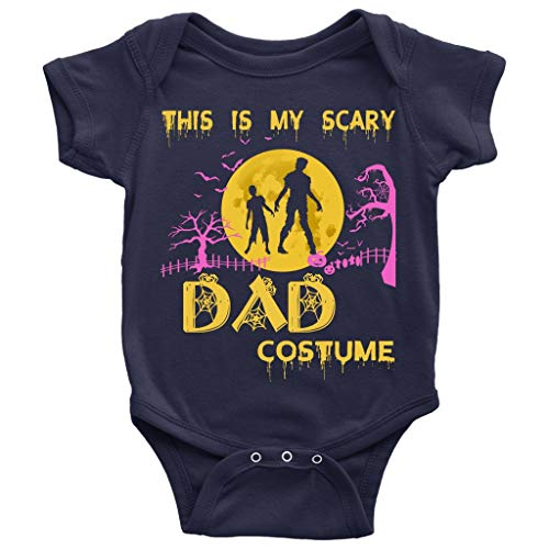 My Scary Dad Costume Baby Bodysuit, Happy Halloween Baby Bodysuit (NB, Baby Bodysuit - Navy) ()