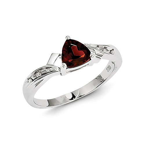 (Perfect Jewelry Gift Sterling Silver Rhodium Plated Diamond and Garnet Heart Ring)