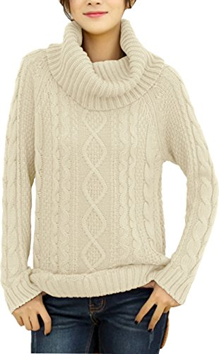 v28 Women's Korean Design Turtle Cowl Neck Ribbed Cable Knit Long Sweater Jumper (Beige,L) ()
