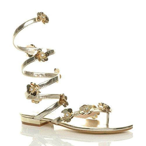 Damen Flach Blume Diamant Umwickeln Zehentrenner Sandalen Flip Flops Größe 3 36 BenPvGNGT