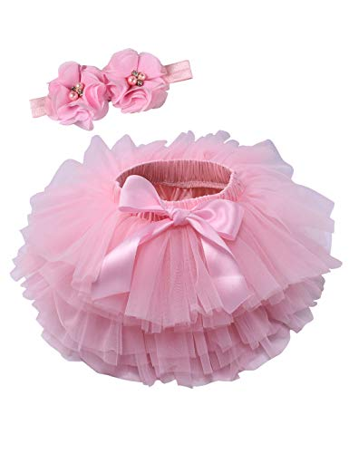 Baby Girls Tutu Bloomers Diaper Cover Cotton Tulle Bloomers and Headband Set Pink 2-3 Years