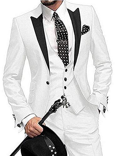(Costyle Men's 3 Pcs Dress Suit Peak Lapel Blazer Coat 4 Buttons Vest Straight Pants MN010-SJ(White,52R))