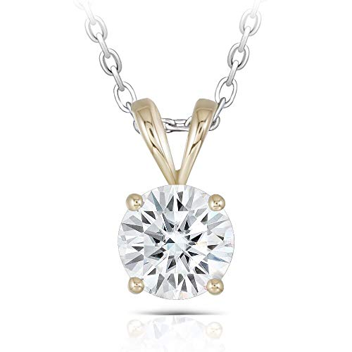 DovEggs 14K Yellow Gold 2CTW 8mm H Color Moissanite Pendant Necklace with Platinum Plated Silver Chain for Women