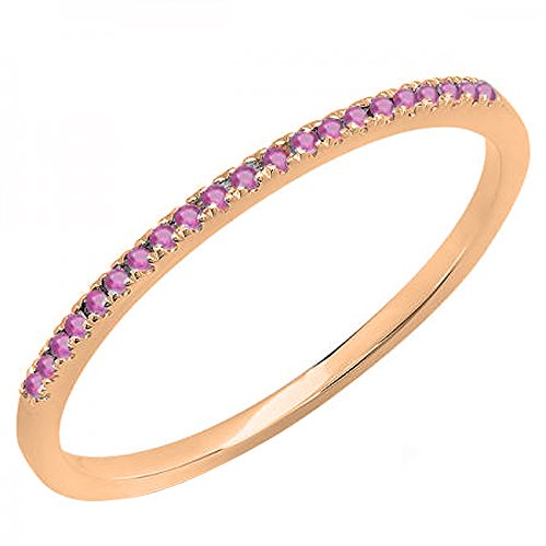 10K Rose Gold Round Cut Pink Sapphire Ladies Anniversary Wedding Band Stackable Ring (Size 7) (Natural Pink Sapphire Ring)